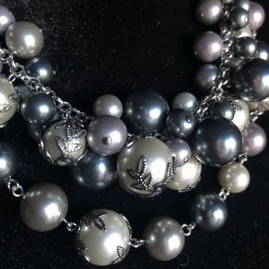 Jewelry - Pearl Gray Multi-layer Necklace/Earrings